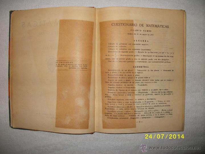 Libros de segunda mano de Ciencias: MATEMATICAS CUARTO CURSO 1955 - Foto 3 - 44390523