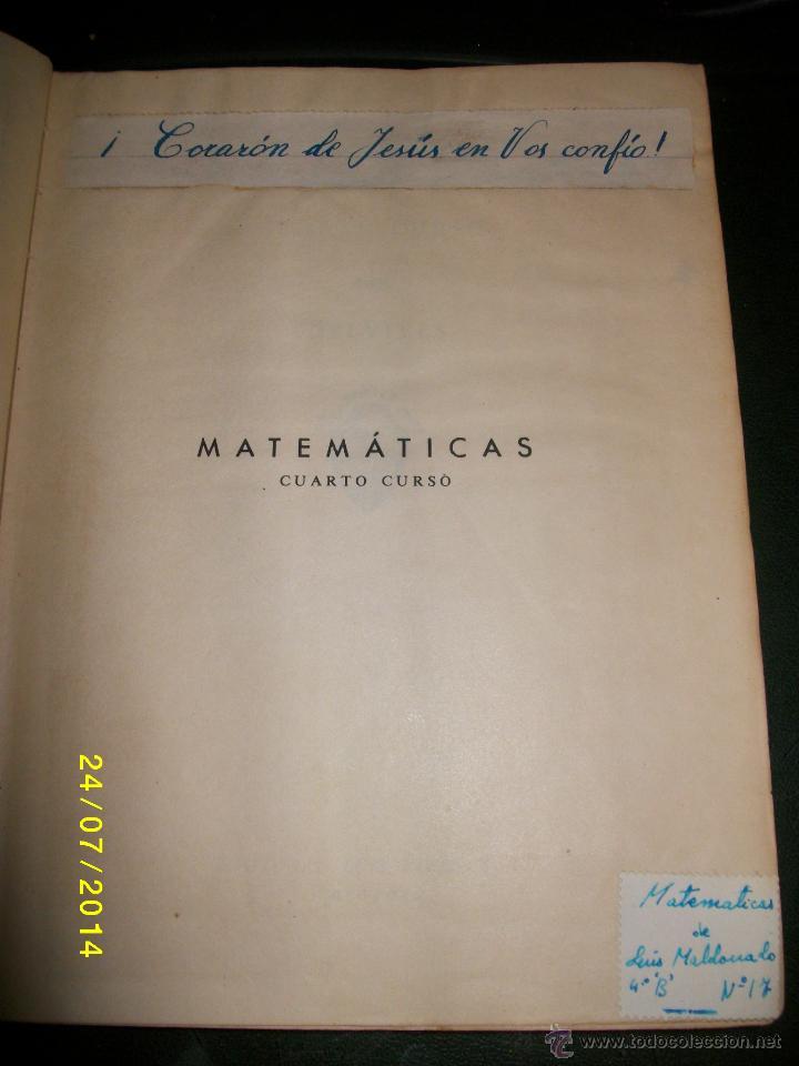 Libros de segunda mano de Ciencias: MATEMATICAS CUARTO CURSO 1955 - Foto 6 - 44390523