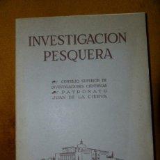 Libros de segunda mano: INVESTIGACION PESQUERA : ESTUDIOS SOBRE LAS ALGAS BENTÓNICAS EN LA COSTA SUR DE LA PENINSULA. Lote 42137693