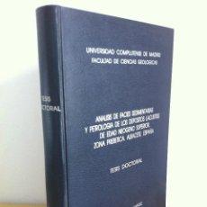 Libros de segunda mano: ANÁLISIS DE FACIES SEDIMENTARIAS Y PETROLOGÍA DE LOS DEPÓSITOS LACUSTRES. EMILIO ELIZAGA MUÑOZ.. Lote 45685374