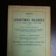 Libros de segunda mano de Ciencias: TABLAS DE LOS LOGARITMOS VULGARES - D. VICENTE VAZQUEZ QUEIPO - MADRID - 1971 -. Lote 46472249