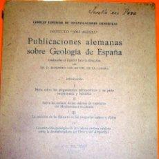 Livros em segunda mão: PUBLICACIONES ALEMANAS SOBRE GEOLOGIA DE ESPAÑA CSIC 1942. Lote 47300546