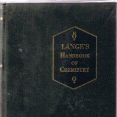Libros de segunda mano de Ciencias: LANGE'S HANDBOOK OF CHEMISTRY - 1969 - MCGRAW-HILL - MANUAL QUIMICA. Lote 49779729