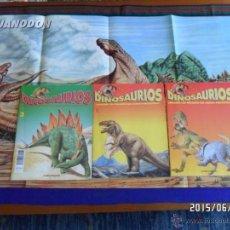 Libros de segunda mano: DINOSAURIOS NºS 1(2 CON PORTADA DISTINTA), 3 Y CARTEL PROMOCIONAL (2) REGALO PLESA PREHISTORIA NIÑOS. Lote 49955199