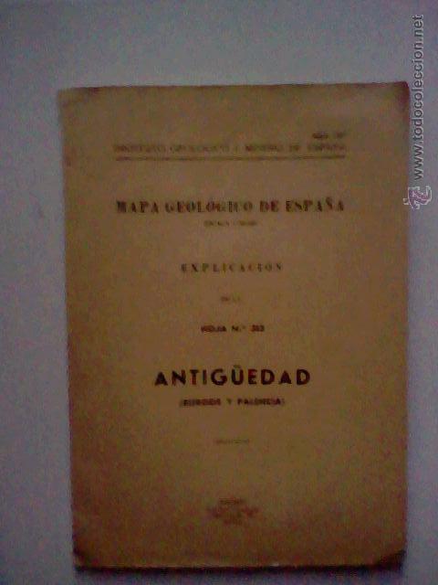 MAPA GEOLOGICO ANTIGUEDAD BURGOS PALENCIA 1953 HOJA 313 CON PLANOS 1963 (Libros de Segunda Mano - Ciencias, Manuales y Oficios - Paleontología y Geología)