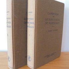 Libros de segunda mano de Ciencias: COMPENDIO DE RESISTENCIA DE MATERIALES. DOS VOLUMENES. I.RUBIO SANJUAN. ED. LABOR, S.A.. Lote 113146230