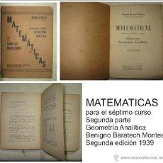Libros de segunda mano de Ciencias: MATEMÁTICAS PARA EL SÉPTIMO CURSO , BARATECH. Lote 51113052