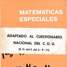 Libros de segunda mano de Ciencias: MATEMÁTICAS ESPECIALES (SIXTO RIOS) - 1975 - SIN USAR JAMÁS. Lote 52516460
