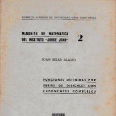Second hand books of Sciences - MEMORIAS DE MATEMÁTICA DEL INSTITUTO JORGE JUAN Nº2 (JUAN BEJAR, CSIC 1946) SIN USAR JAMÁS - 52833701