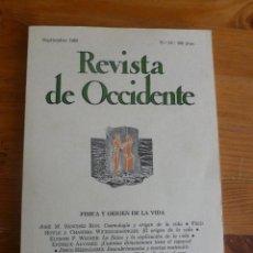 Libros de segunda mano de Ciencias: REVISTA DE OCCIDENTE.SEPTIEMBRE 1985. Nº 52. FISICA Y ORIGEN E LA VIDA 154 PP.. Lote 52870680