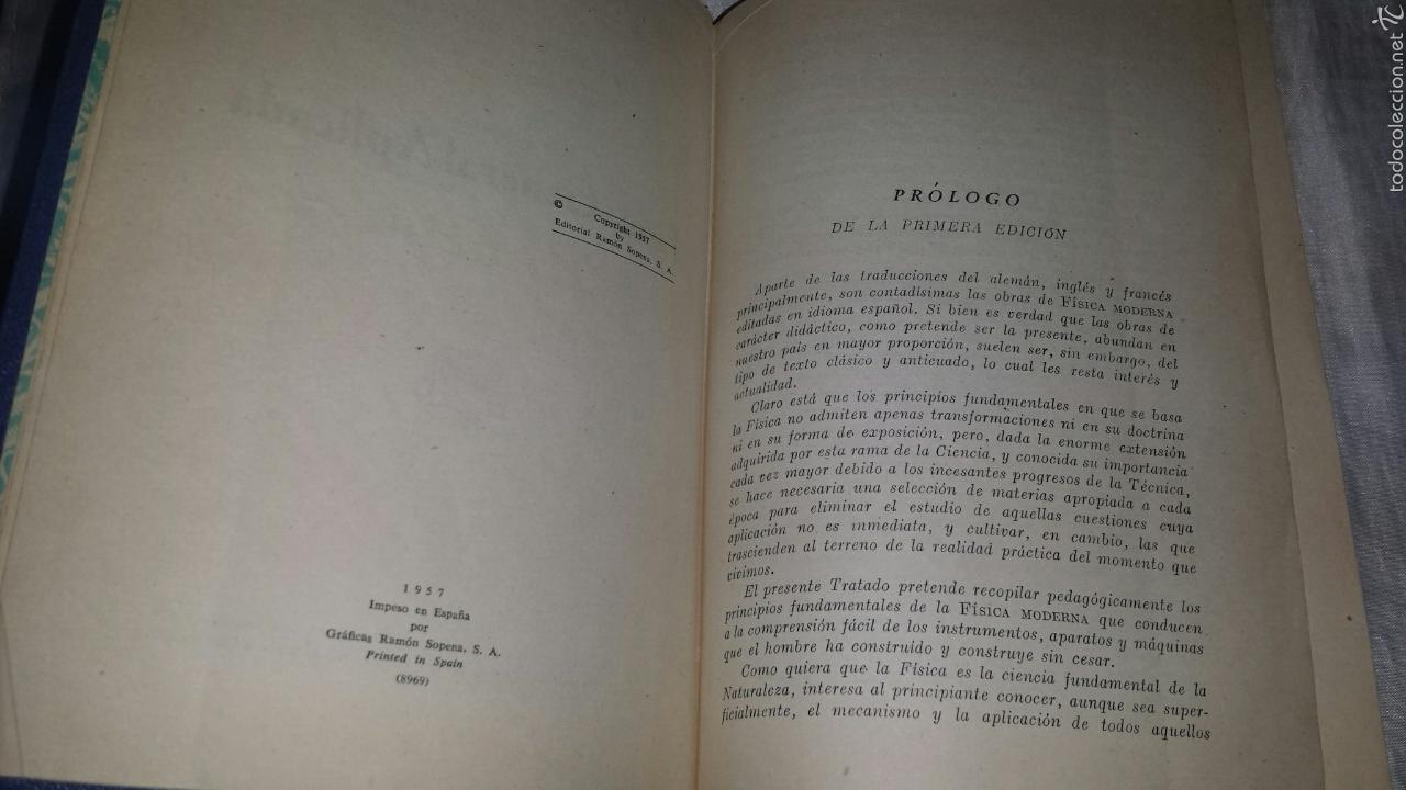 Libros de segunda mano de Ciencias: FISICA GENERAL APLICADA. RAMON SOPENA. FRANCISCO F. SINTES OLIVES 1957 - Foto 3 - 53184134