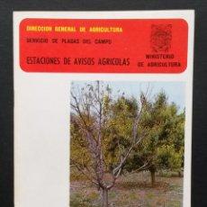 Libros de segunda mano: A135.- PLAGAS Y ENFERMEDADES DEL MELOCOTONERO.- MINISTERIO DE AGRICULTURA.- ESTACIONES DE AVISOS. Lote 54009224