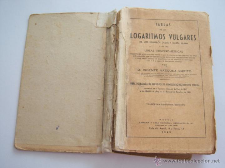 TABLAS DE LOGARITMOS VULGARES (Libros de Segunda Mano - Ciencias, Manuales y Oficios - Física, Química y Matemáticas)