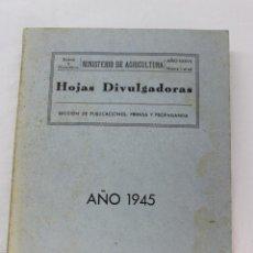 Libros de segunda mano: HOJAS DIVULGADORAS ILUSTRADAS, MINISTERIO AGRICULTURA, MADRID 1945. APICULTURA, BOTANICA, PLAGAS. Lote 54550048