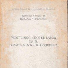 Libros de segunda mano de Ciencias: VEINTICINCO AÑOS DE LABOR EN EL DPTO. DE BIOQUÍMICA 1940-64 (C.S.I.C. 1966) SIN USAR.. Lote 55703552