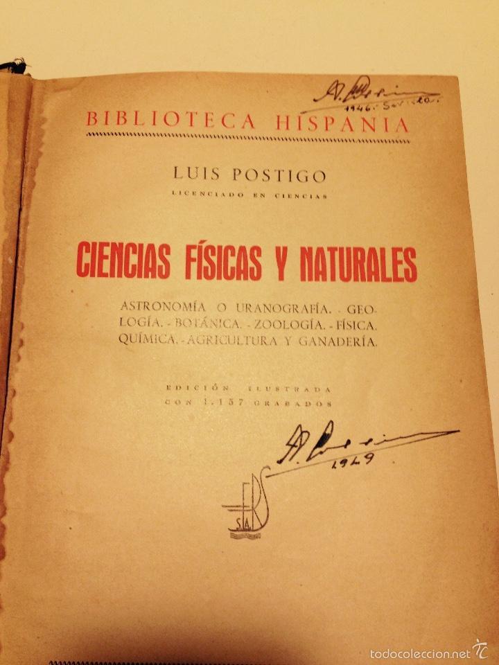 Libros de segunda mano de Ciencias: LIBRO DE CIENCIAS FISICAS Y NATURALES DE LUIS POSTIGO, 1942. - Foto 3 - 144297434
