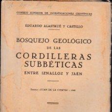 Libros de segunda mano: BOSQUEJO GEOLÓGICO DE LAS CORDILLERAS SUBBÉTICAS ENTRE IZNALLOZ Y JAÉN (ALASTRUÉ 1944) SIN USAR. Lote 57681839