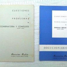 Libros de segunda mano de Ciencias: CUADERNO Y SOLUCIONARIO BARREIRO-RUBIO. COMBINATORIA Y COMPLEJOS. QUINTO CURSO. 1969. EN BLANCO.. Lote 60503419