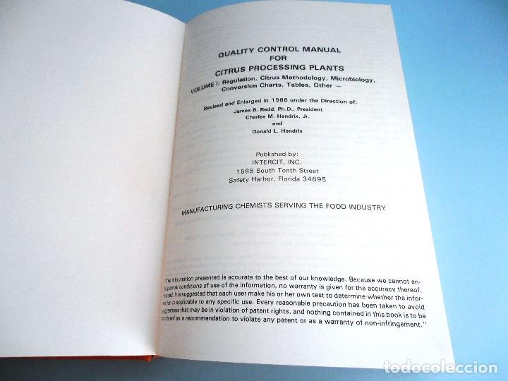 Libros de segunda mano de Ciencias: QUALITY CONTROL MANUAL CITRUS PROCESSING. 3Vols. REED and others #LT - Foto 6 - 158475493