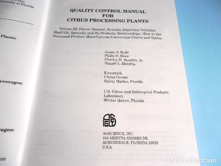 Libros de segunda mano de Ciencias: QUALITY CONTROL MANUAL CITRUS PROCESSING. 3Vols. REED and others #LT - Foto 8 - 158475493