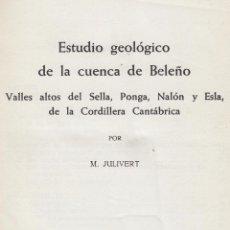 Libros de segunda mano: M. JULIVERT. ESTUDIO GEOLÓGICO DE LA CUENCA DEL BELEÑO. S.L., C. 1960.. Lote 63900963