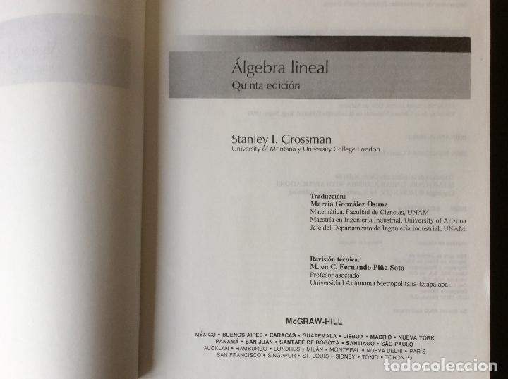 Libros de segunda mano de Ciencias: ALGEBRA LINEAL .- STANLEY I. GROSSMAN MC GRAW HILL - Foto 2 - 65978210