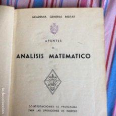 Libros de segunda mano de Ciencias: APUNTES DE ANÁLISIS MATEMÁTICO. ACADEMIA GENERAL MILITAR. Lote 66014986