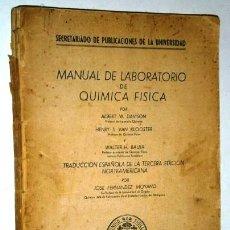 Libros de segunda mano de Ciencias: MANUAL DE LABORATORIO DE QUÍMICA FÍSICA DE DAVISON, VAN KLOOSTER Y BAUER, UNIVERSIDAD DE OVIEDO 1950. Lote 71151993