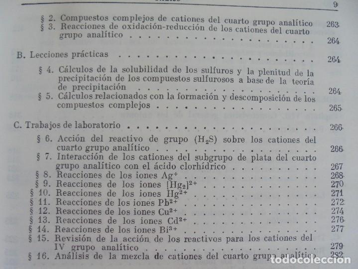 Libros de segunda mano de Ciencias: A. KRESHKOV, A. YAROSLAVTSEV. CURSO DE QUIMICA ANALITICA. ANALISIS CUANTITATIVO ANALISIS CUALITATIVO - Foto 31 - 71258475