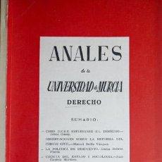 Libros de segunda mano de Ciencias: VV.AA. ANALES DE LA UNIVERSIDAD DE MURCIA. DERECHO. VOLÚMEN XVI, Nº 3-4 [C]. 1957-1958.. Lote 72100571