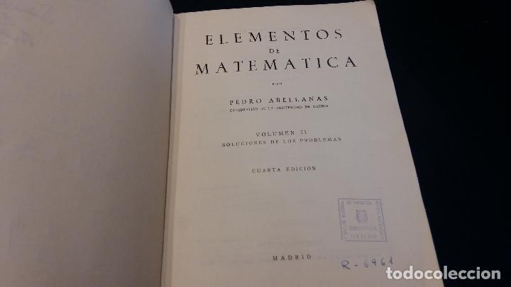 Libros de segunda mano de Ciencias: elementos de matematica / volumen II / pedro abellanas - Foto 2 - 73648327