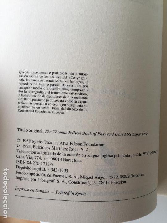 Libros de segunda mano de Ciencias: EXPERIMENTOS FÁCILES E INCREIBLES - FUNDACIÓN THOMAS ALVA EDISON - EDITORIAL MARTINEZ ROCA - Foto 4 - 77540413