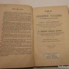 Libros de segunda mano de Ciencias: HOS. TABLAS DE LOS LOGARITMOS VULGARES. DE V. VAZQUEZ. EDC NIUBO. Lote 82010688