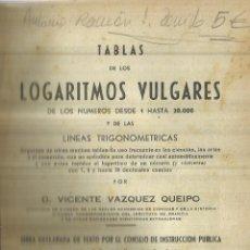 Libros de segunda mano de Ciencias: TABLA DE LOGARITMOS VULGARES. VICENTE VÁZQUEZ QUEIPO. EDITORIAL HERNANDO. MADRID. 1960. Lote 84197964
