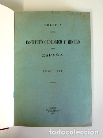 BOLETÍN DEL INSTITUTO GEOLÓGICO Y MINERO DE ESPAÑA. TOMO LXXII (1961) (Libros de Segunda Mano - Ciencias, Manuales y Oficios - Paleontología y Geología)
