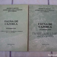 Libros de segunda mano: LOTE : FAUNA DE CAZORLA ( JAEN ) : VERTEBRADOS E INVERTEBRADOS.. Lote 94385690
