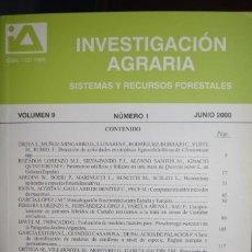 Libros de segunda mano: INVESTIGACION AGRARIA. SISTEMAS Y RECURSOS FORESTALES. VOLUMEN 9. NUMERO 1 . JUNIO 2000. Lote 97463431