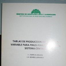 Libros de segunda mano: TABLAS DE PRODUCCION DE DENSIDAD VARIABLE PARA PINUS PINASTER AIT. EN EL SISTEMA CENTRAL.. Lote 97472283