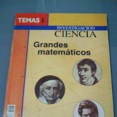 Libros de segunda mano de Ciencias: GRANDES MATEMATICOS. INVESTIGACIÓN Y CIENCIA.. Lote 100317939