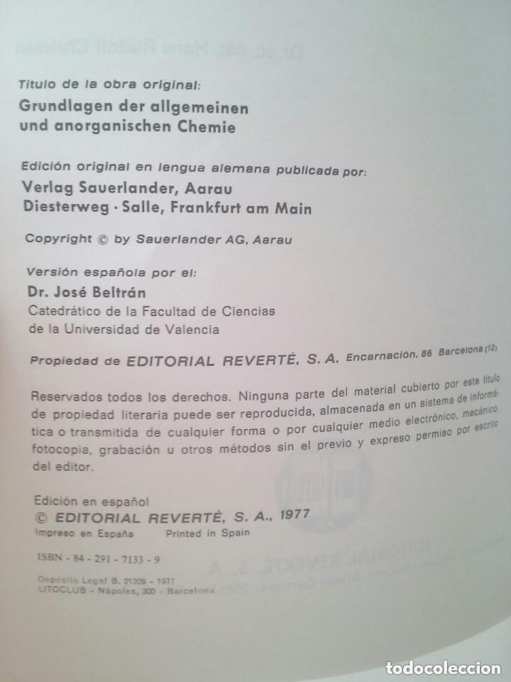 Libros de segunda mano de Ciencias: FUNDAMENTOS DE LA QUÍMICA GENERAL E INORGÁNICA (2 TOMOS) - HANS RUDOLF CHRISTEN - Foto 5 - 101974699