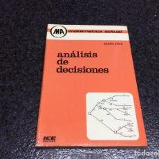 Libros de segunda mano de Ciencias: ANALISIS DE DECISIONES / SIXTO RIOS - (MA) MATEMATICA ACTUAL. Lote 102288539