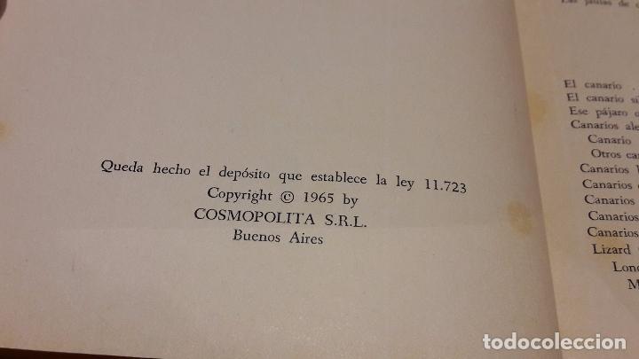 Libros de segunda mano: COMO CRIAR CANARIOS Y OTROS PÁJAROS. VICTORIANO SEGUNDO. ED / COSMOPOLITA. BUENOS AIRES-1965.OCASIÓN - Foto 3 - 179032251