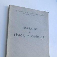 Libros de segunda mano de Ciencias: TRABAJOS DE FISICA Y QUIMICA / ZARAGOZA 1946 / VER INDICE DE ARTICULOS. Lote 105360379