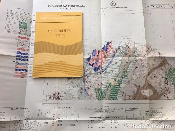 MAPA DE ROCAS INDUSTRIALES E. 1:200.000: LA CORUÑA. HOJA 1 MEMORIA 2/1 INSTITUTO GEOLÓGICO 1973 (Libros de Segunda Mano - Ciencias, Manuales y Oficios - Paleontología y Geología)