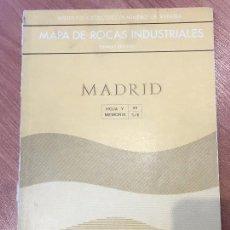 Libros de segunda mano: MAPA DE ROCAS INDUSTRIALES E. 1:200.000: MADRID . HOJA 45 MEMORIA 5/6 INSTITUTO GEOLOGICO 1973. Lote 107708559