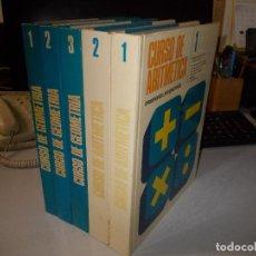 Libros de segunda mano de Ciencias: CURSO DE GEOMETRÍA 3 TOMOS Y CURSO DE ARITMÉTICA 2 TOMOS DE 4. ENSEÑANZA PROGRAMADA 1.973. Lote 107916487