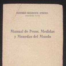 Libros de segunda mano de Ciencias: MANUAL DE PESOS, MEDIDAS Y MONEDAS DEL MUNDO, CON EQUIVALENCIAS AL SISTEMA MÉTRICO DECIMAL. Lote 107954667