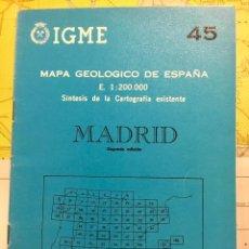 Libros de segunda mano: MAPA GEOLOGICO MADRID E: 1: 200.000 CARTOGRAFIA IGME 2 EDICION 1980. Lote 108737219