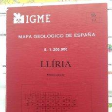 Libros de segunda mano: MAPA GEOLÓGICO DE ESPAÑA - LLIRIA - IGME E 1: 200.000 PRIMERA EDICION 1985. Lote 109108703
