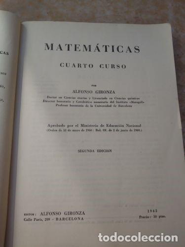 Libros de segunda mano de Ciencias: LIBRO MATEMATICAS CUARTO CURSO - AÑO 1962 - Foto 2 - 109119171